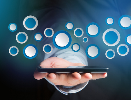 View of a Empty app interface made of blue button displayed on a interface Stock Photo