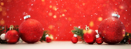 View of a Christmas background with christmas balls, gifts and decoration