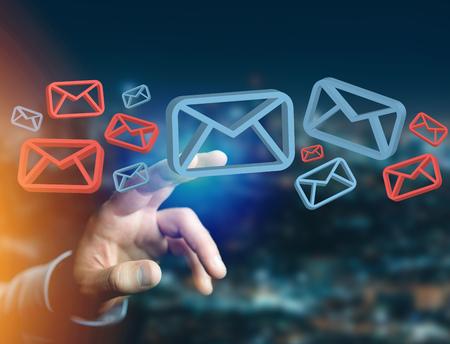 Vista del correo electrónico aprobado y el mensaje de spam que se muestra en una interfaz futurista - Concepto de mensajes e internet
