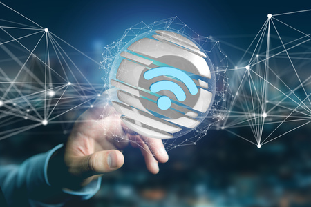 View of a Wifi symbol displayed in a sliced sphere - 3d rendering