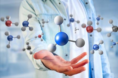 Widok cząsteczki renderowania 3d na wyświetlaczu w interfejsie medycznym