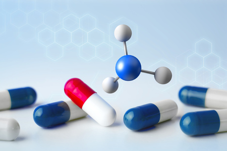 View of a 3d rendering molecule on a displayed on a medical interface  Stock Photo
