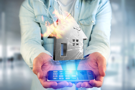 View of a Shinny damaged silver house displayed on a futuristic interface - 3d rendering Stock Photo