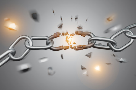 View of a Weak link of a Broken chain exploding - 3d render Foto de archivo