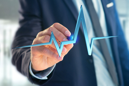 View of a 3d rendering heart beat line on a futuristic interface