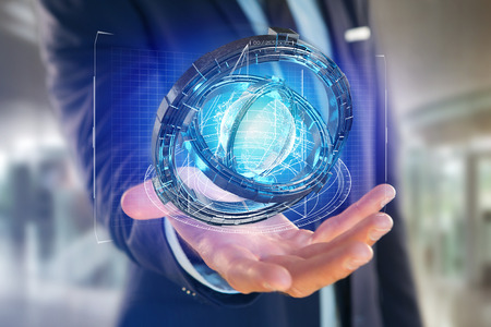 View of a Hologram made of wheel with a futuristic data interface - 3d render Stock Photo
