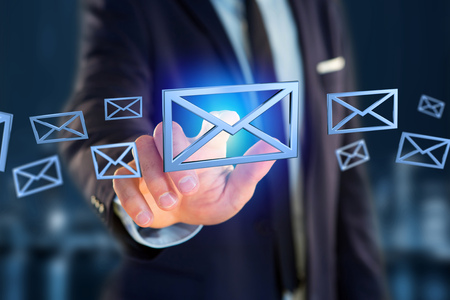 View of Blue Email symbol displayed on a color background - 3D rendering