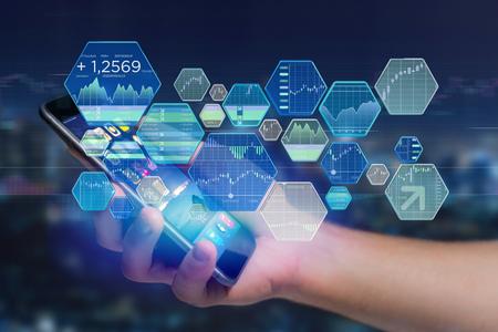 미래의 인터페이스에 표시되는 증권 거래 거래 데이터 정보보기