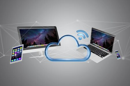 View of Devices like smartphone, tablet or computer flying over connected cloud - 3d render