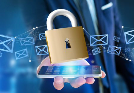 View of a Padlock security connection isolated on a color background - 3d rendering 스톡 콘텐츠