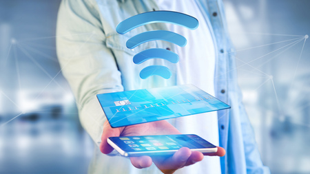 View of Paying with contactless credit card concept - 3d render