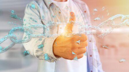 View of a Weak link of a Broken blockchain exploding - 3d render