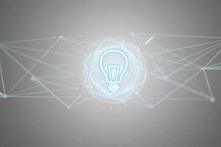 未来的なインターフェイス上の電球ランプのアイデアコンセプトアイコンのビュー 写真素材 - 93898282