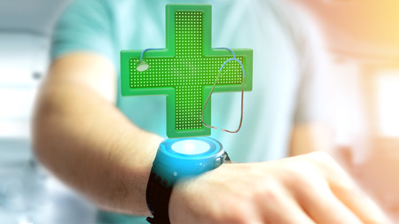 View of a Businessman holding a Lighting pharmacy cross and a stethoscope - 3d render