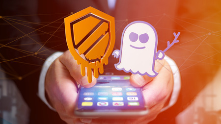 View of a Businessman using a smartphone with a Meltdown and Spectre processor attack with network connection - 3d render