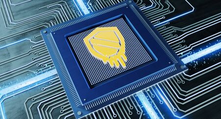 View of a CPU processor chip with a meltdown attack and network connection on a circuit board - 3d render Stock Photo
