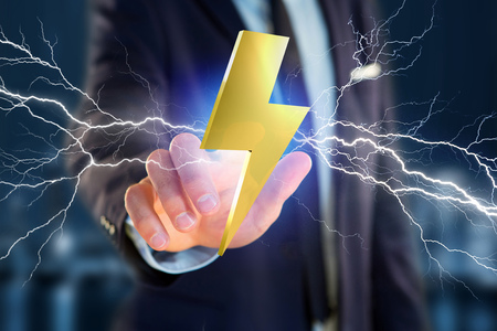 View of a Thunder lighting bolt symbol displayed on a futuristic interface - 3d rendering Stock Photo