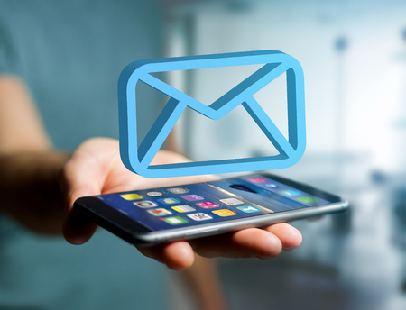 View of a Blue Email symbol displayed on a futuristic interface - Message and internet concept Stock Photo