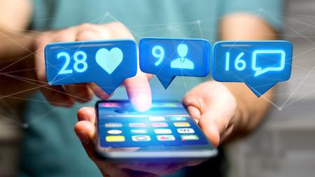 Vista de un hombre de negocios utilizando un teléfono inteligente con un Me gusta, seguidor y notificación de mensajes en la red social - 3d render Foto de archivo - 95677510