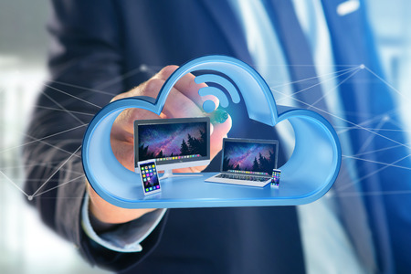 View of a Devices like smartphone, tablet or computer displayed in a cloud- 3d render