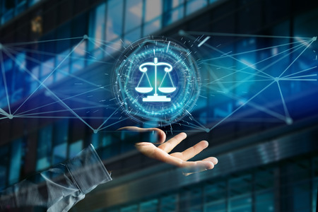 View of a justice balance icon on a futuristic interface