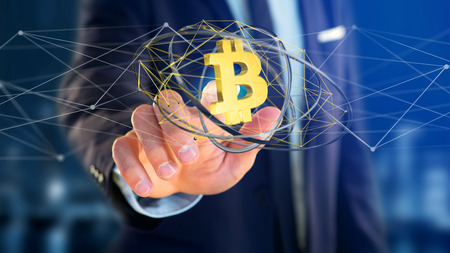 View of a Businessman holding a Bitcoin crypto currency sign flying around a network connection - 3d render