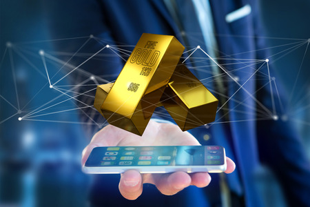 View of a Gold bullion shinning in front of connection - 3d render