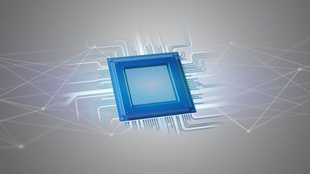 View of a Processor chip and network connection - 3d render Stock Photo