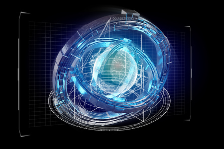 View of a Hologram made of wheel with a futuristic data interface - 3d render 스톡 콘텐츠