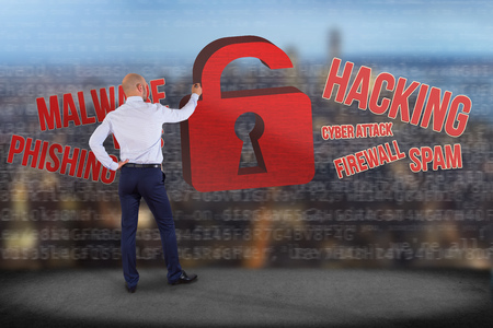 View of a Businessman in front of a wall with Cyber attack concept on a technology interface