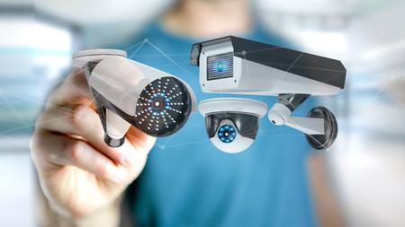 vue d & # 39 ; un homme d & # 39 ; affaires tenant un système de protection de la sécurité et de connexion réseau - rendu 3d