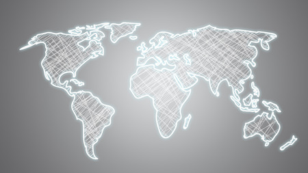 View Of A Hand Drawn World Map On A Uniform Background Stock Photo ...