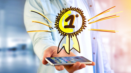 View of a Businessman using a smartphone with a Hand drawn reward for the number one
