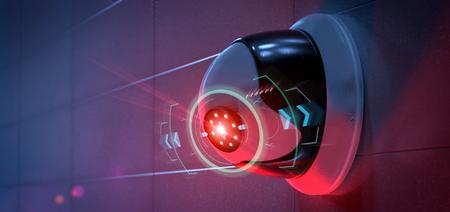 Ansicht einer Überwachungskamera, die eine festgestellte Störung anvisiert - Wiedergabe 3d