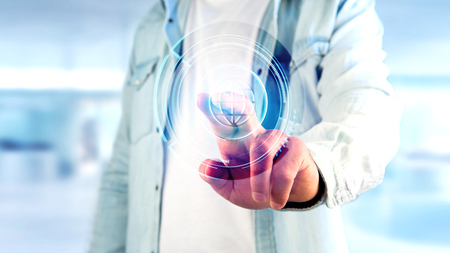 View of a Businessman holding a Shinny technologic globe button - 3d render