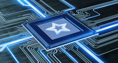 View of a CPU processor with a favorite star and network connection on a circuit board - 3d render Stock Photo
