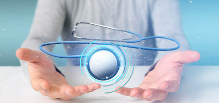 View of a Businessman holding a 3d rendering medical stethoscope