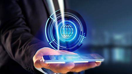 View of a Businessman using a smartphone with a Shinny technologic globe button - 3d render