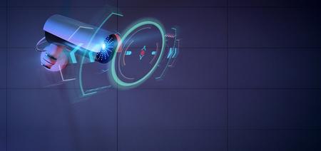 Vista de una cámara de seguridad que apunta a una intrusión detectada - Representación 3D