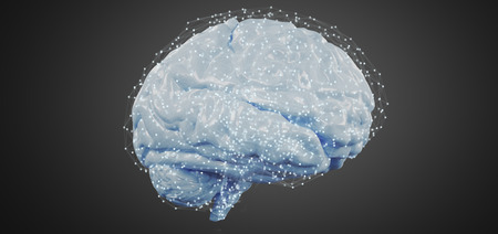 View of a 3d rendering artificial brain isolated on a background