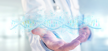 View of a Doctor holding a 3d render DNA