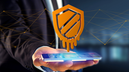 View of a Businessman using a smartphone with a Meltdown processor attack with network connection - 3d render Stock Photo