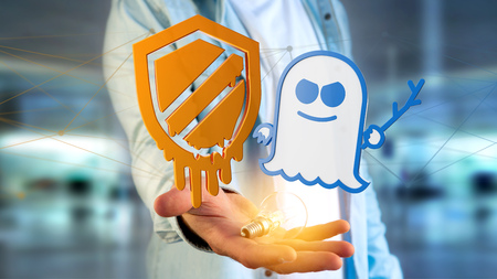 View of a Businessman holding a Meltdown and Spectre processor attack with network connection - 3d render Stock Photo