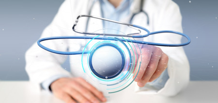 View of a Doctor holding a 3d rendering medical stethoscope Banco de Imagens
