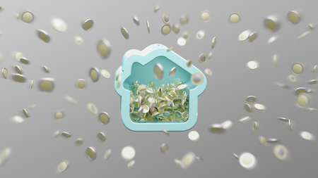 View of a House moneybox with coin surrounding all over on a background 3d rendering