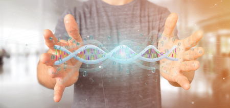 View of a Man holding a 3d rendering data coded Dna with binary file around