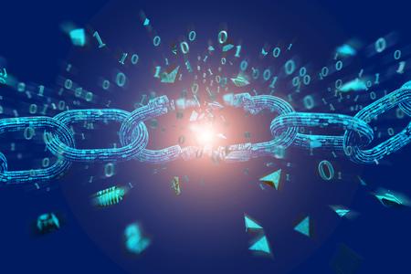 View of Weak link of a Broken blockchain exploding - 3d render