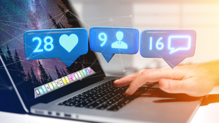 View of a Businessman holding a Like, Follower and message notification on social network - 3d render Stockfoto