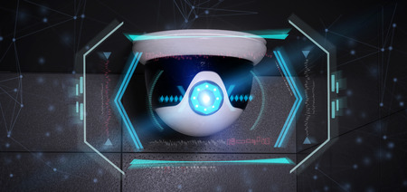 View of a Security camera targeting a detected intrusion - 3d rendering Stock Photo