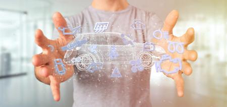 Weergave van een man met Smartcar-pictogram rond een auto 3D-rendering Stockfoto - 102815363